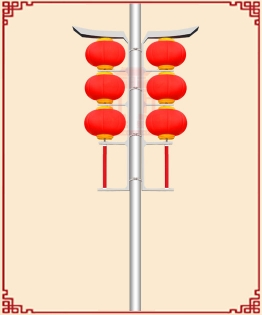 LED腾飞支架三连串磨砂灯笼
